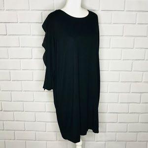 COS black silk ruffle shift dress